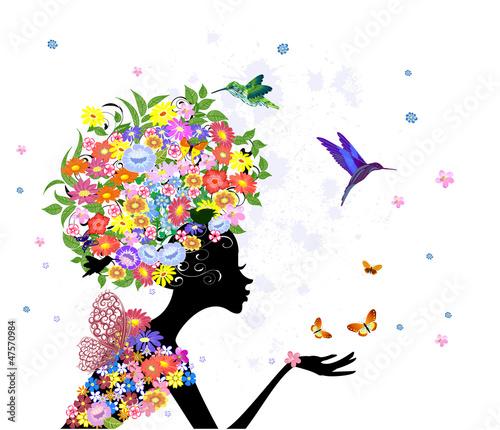 Foto op Canvas Bloemen vrouw girl fashion flowers