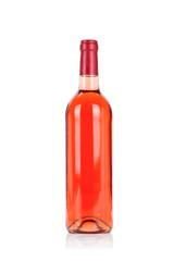 Bottle of rose wine isolated on white background