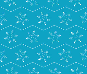 Snowflakes. Comic seamless pattern for packing paper.