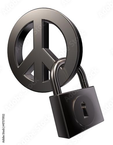peace-symbol und vorhängeschloss