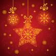 Snowflake stars  and christmas balls