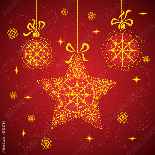 Snowflake stars  and christmas balls