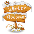 Winter wooden arrow icon