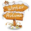Winter wooden arrow icon