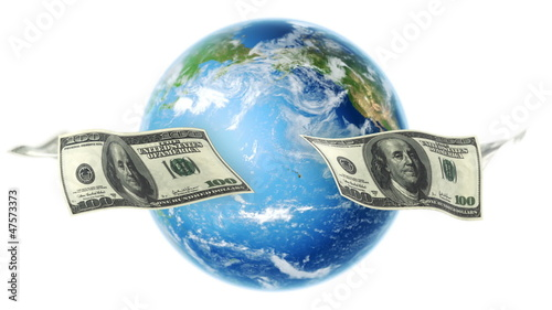USD Banknotes Around Earth on White (Loop)