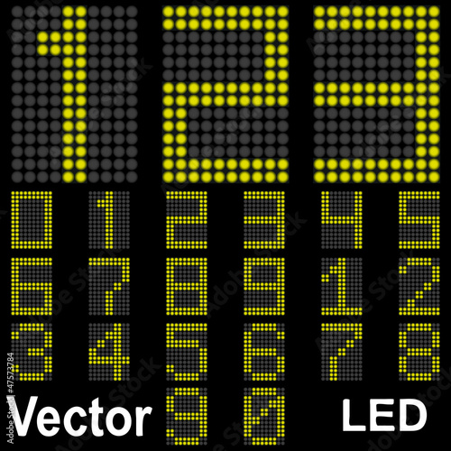 Vector conceptual collection font bright led isolated