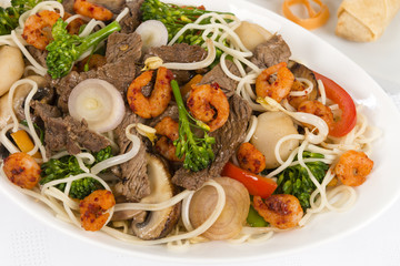 Chow Mein - Chinese noodles with beef, shrimp & vegetables