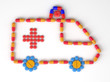 Emergency car icon made of capsules and pills