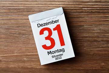 Kalender auf Holzhintergrund - 31 Dezember