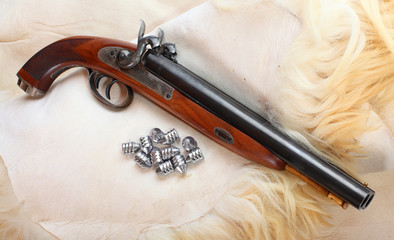 Vintage large-bore pistol. British colonial weapon.