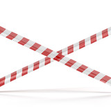 Crossed red white warning tape