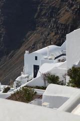 Santorini with white architecture in Greece