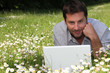 Man working on laptop in the daisies