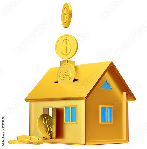 dollar coins falling down to the money box