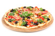 Tasty pizza with vegetables, chicken and olives isolated