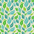 Vector seamless background with green and blue  leaves