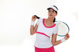 Tennis player stretching