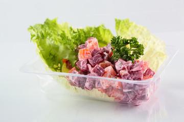 fresh summer salad on white background