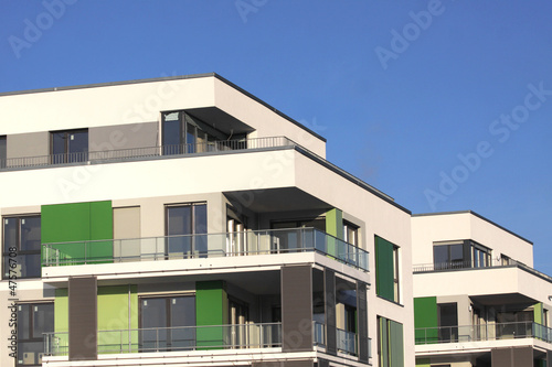 new apartments with blue sky