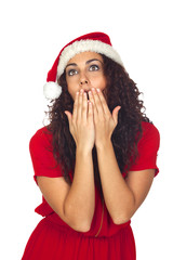 Beautiful woman surprised in Christmas
