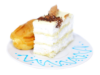 Sponge cakes and eclair cake. Isolated