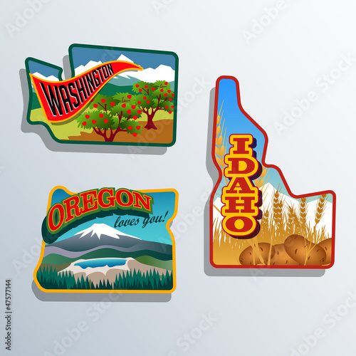 United States Outines Washington Oregon, Idaho retro artwork