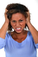 Women pulling her hair