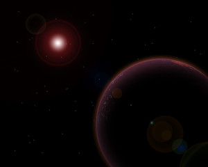 Pianeta rosso e sole - Red planet and Sun with lens flare