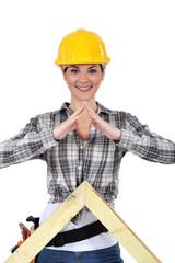 Portrait of smiling woman carpenter