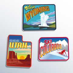 United States Utah Colorado Wyoming patch designs