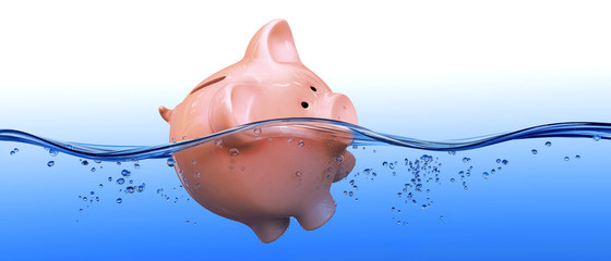 Piggy bank floating in water