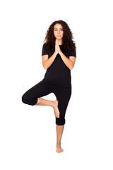 Brunette Woman Doing Yoga Exercises