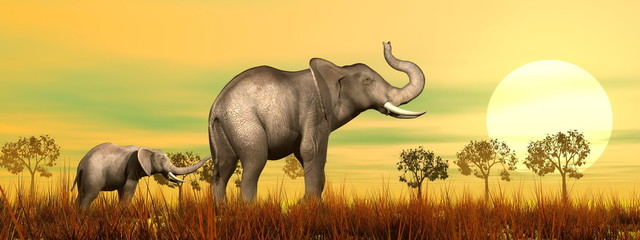 Elephant mum and baby in the savannah - 3D render