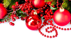 Christmas and New Year Baubles and Decorations border design
