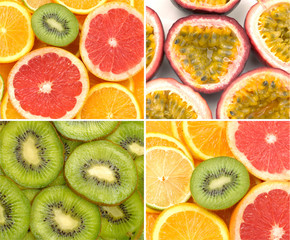 Close up sliced citrus collage
