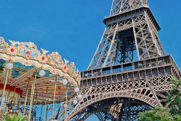 Eiffel Tower (Tour Eiffel), and French carousel, Paris