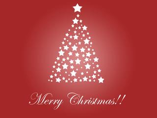 Tarjeta de felicitación de Navidad con un árbol de estrellas