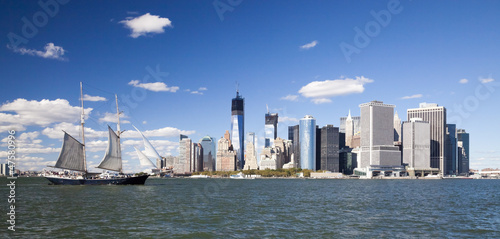 The New York City Downtown w the Freedom tower an the Sailboat