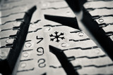 protector of winter tyre, macro view poster