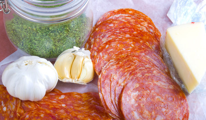 Itailan style lunch meats and ingredients