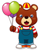 Illustration of Teddy bear with balloons