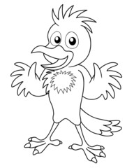 Illustration of Bird cartoon - coloring book