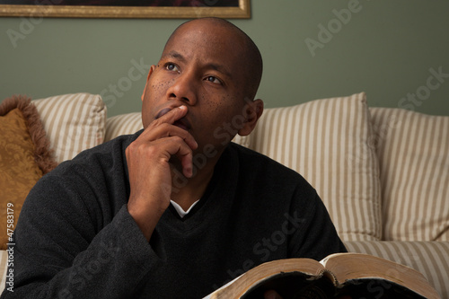 African American Studying the Bible at Home