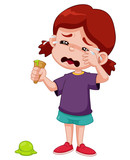 Fototapety Illustration of Cartoon girl crying with ice cream drop