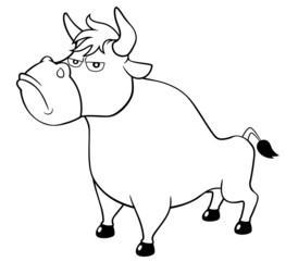 illustration of cartoon bull.Coloring book