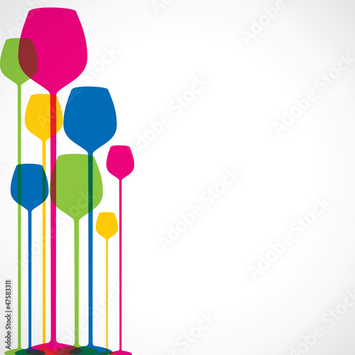 colorful wine glass stock vector