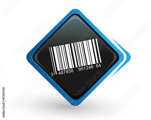 icône code barre sur bouton carré bleu design