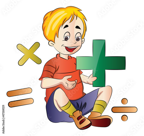 Boy Learning Math, illustration