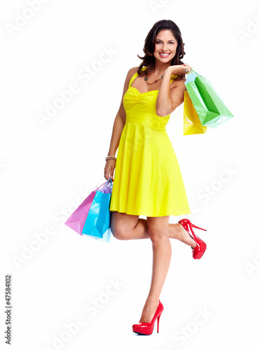 Beautiful woman with a shopping bags.
