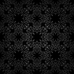 Abstract black swirls, seamless pattern